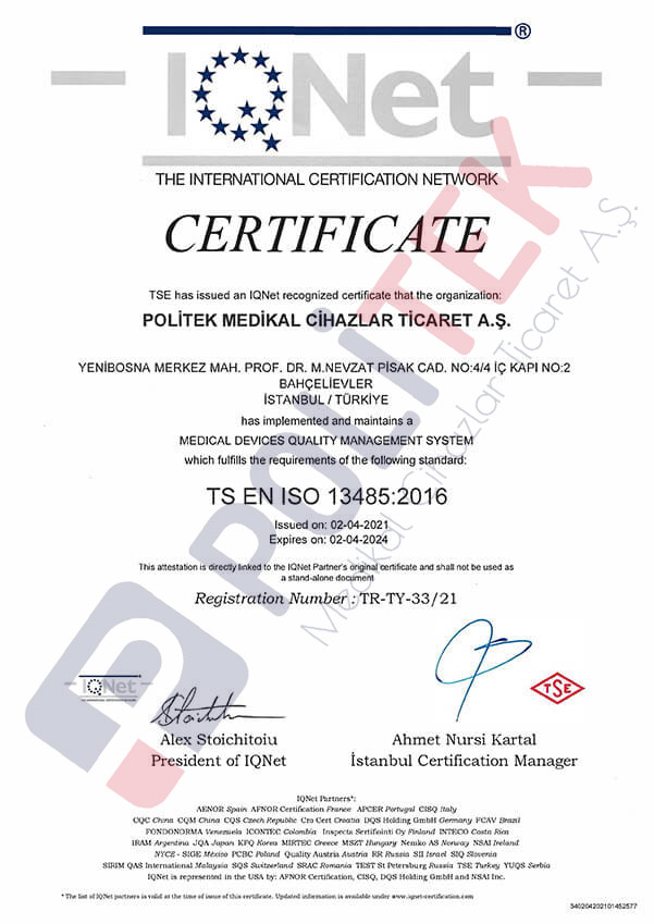 TS EN ISO 13485 Medical Devices Quality Management System Certificate