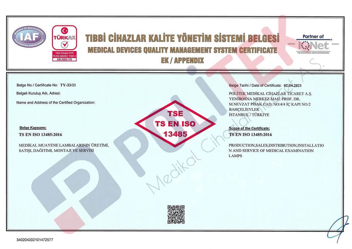 TS EN ISO 13485 Tıbbi Cihazlar Kalite Yönetim Sistemi Belgesi